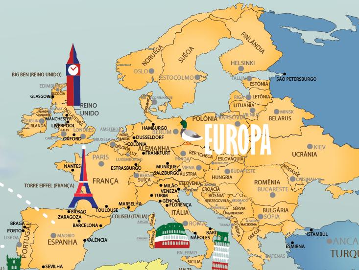Papel de Parede Mapa Mundi Completo 18-H europa ampliada