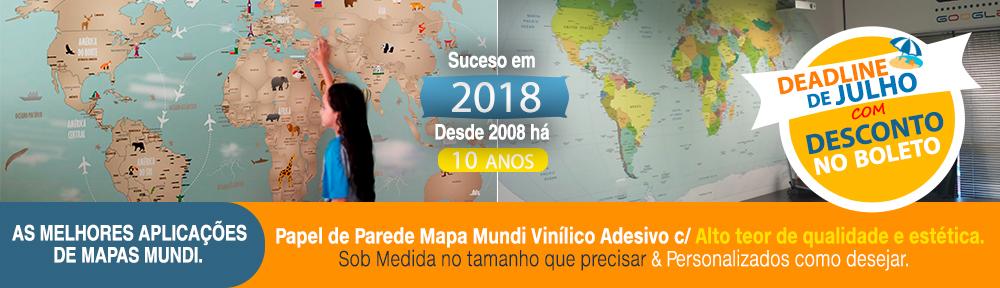 Papel de Parede Mapa Mundi para Decoração em Adesivo de Parede