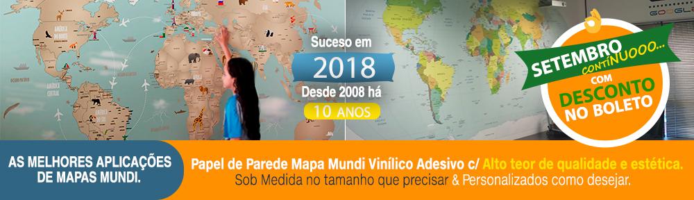Papel de Parede Mapa Mundi para decoração em adesivo sob medida