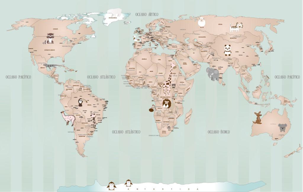 Papel de Parede Mapa Mundi Bebê 18-i