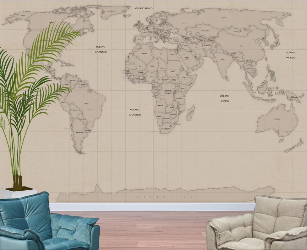 Papel de parede mapa mundi vintage aplicado