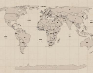 Papel de parede mapa mundi vintage, antigo ou Candy Colors para sua decoração