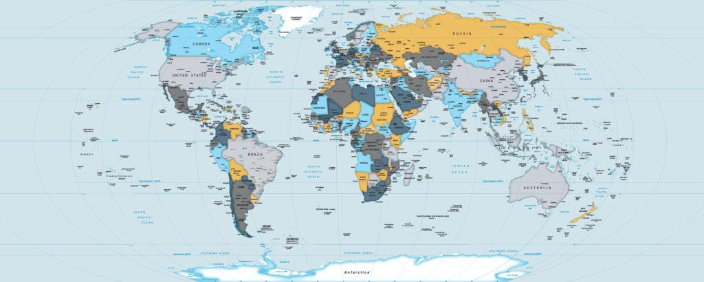 Papel de Parede Mapa Mundi para decoração modelo 22-A4.