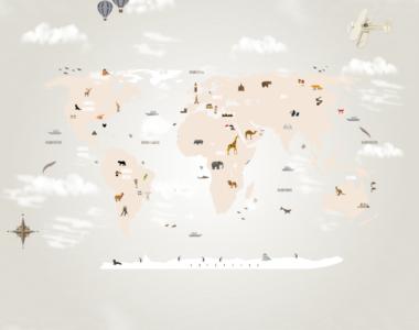 Papel de Parede Mapa Mundi Infantil, decorativo para crianças