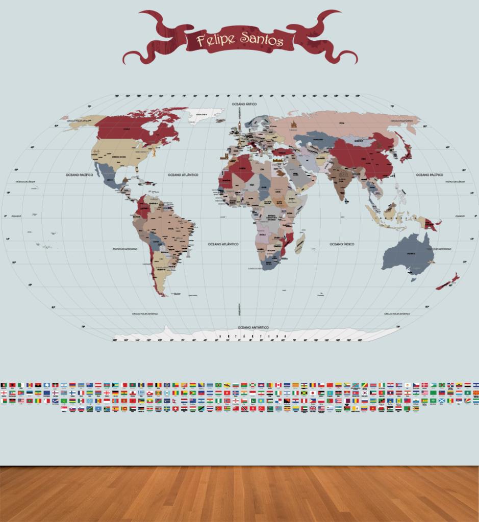 Papel de Parede Mapa Mundi para decoração aplicado
