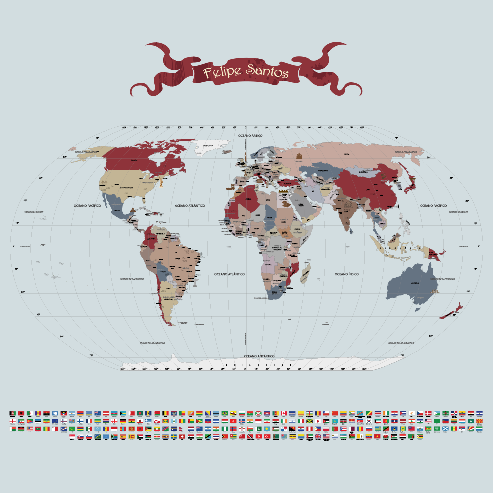 Papel de Parede Mapa Mundi para decoração