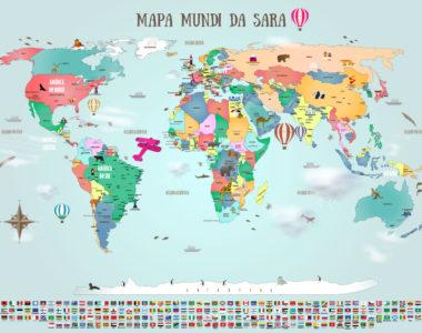 Papel de parede mapa mundi para quarto de crianças