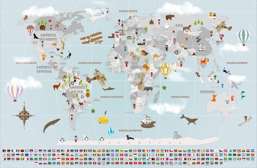 Papel de Parede Mapa Mundi viagens mod. 19-A1