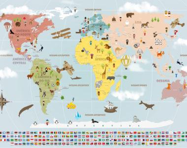 Papel de Parede Mapa Mundi viagens, ideal para viajantes decorar